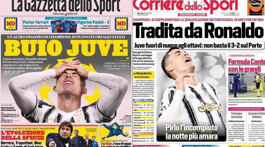 Italian tabloids on Ronaldo and teammates for allowing the second goal against Port.