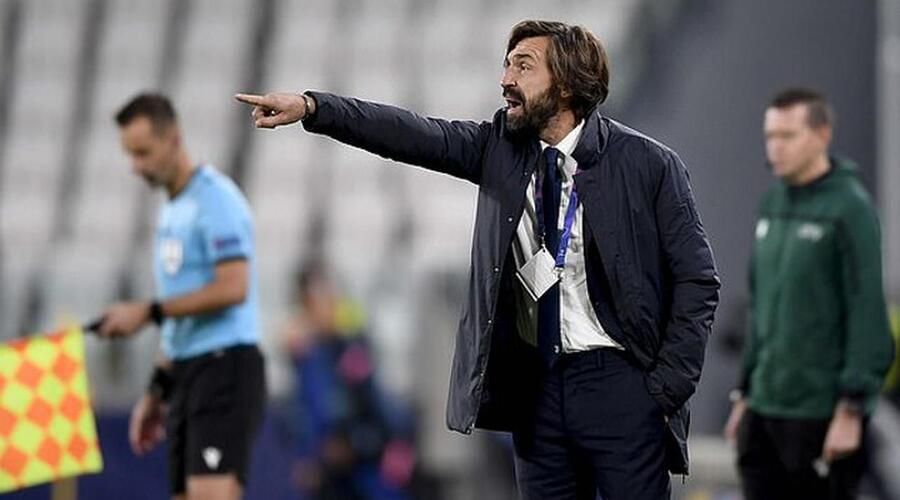 Juventus coach Andrea Pirlo frustrated at the touch line against Port.