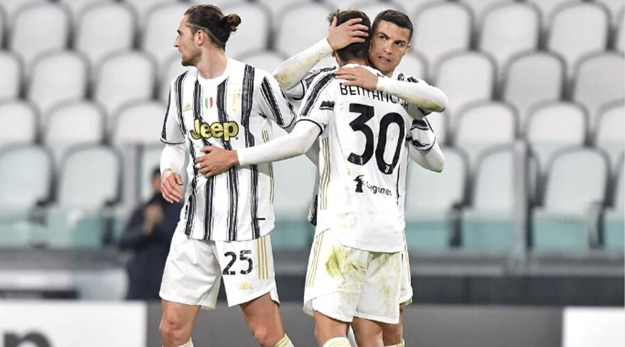 Ronaldo celebrating with one of his teammate after they scored.