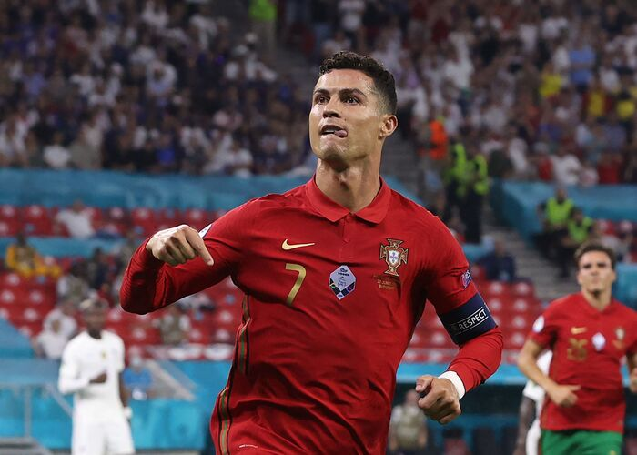 The Portuguese goal machine makes history by netting twice Ireland.